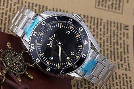 WAVFCSE Luxusmarke Neue M/änner Automatische Mechanische Auto Wind Edelstahlgewebe Leinenarmband Uhr Glasboden James Bond 007 Spektrum