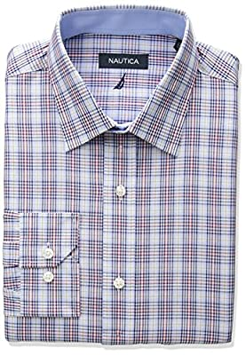 Nautica Men's Regular Fit Multi Plaid Dress Shirt