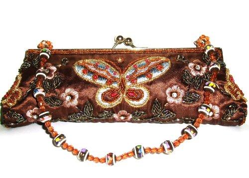 Marrón diseño de mariposa 'Embriodered & Cuentas Noche Bolso/Embrague–Bolsa (Tamaño de 10cm de largo)