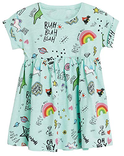 Toddler Girls Unicorn Short Sleeve Summer Dress Aqua -