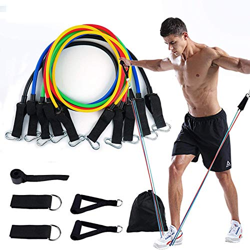 EDS Resistance Bands Set, 11 Pack Exercise Bands Resistance up to 100lb, Indoor or Outdoor Workout Bands with Door…