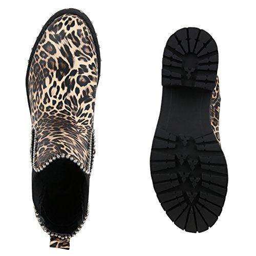 Stiefelparadies Damen Stiefeletten Chelsea Boots Nieten Leder-Optik Booties Schuhe Flandell Leopard