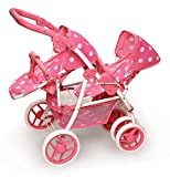 Badger Basket Reversible Double Doll Stroller (fits American Girl dolls), Pink Polka Dots