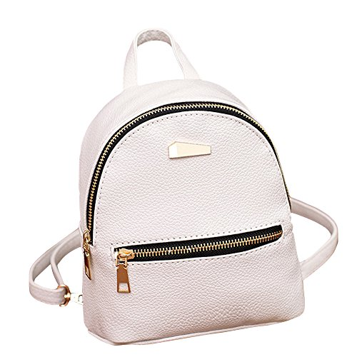 Satchel Backpack School Leather Tiny Mini Bag ZHANGVIP Shoulder pack College Travel Rucksack White Women IUwtn8