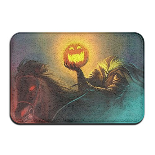 Halloween Headless Horseman Front Door Mat Large Outdoor Indoor Entrance Doormat -Waterproof Low Profile Door Mats Stylish Welcome Mats Garage Patio Snow Scraper Front Doormats