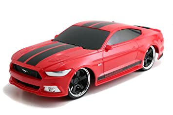 Amazon Com Jada Toys Hyperchargers   Big Time Muscle R C  Mustang Gt Vehicle Red With Black Stripes Toys Games