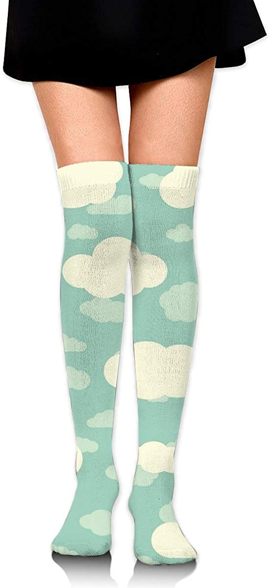 GYHJH Cloud Pattern Women Over Knee High Bas Long Tube Socks
