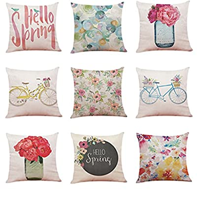 FORUU Throw Pillowcase, Home Decor Cushion Hello Spring Pillowcase