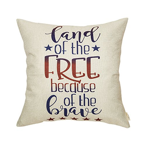 Fjfz 4th of July Land of The Free Because of The Brave Patriotic Quote Decor Tutorial Sign Decoration Cotton Linen Home Decorative Throw Pillow Case Cushion Cover with Words for Sofa Couch, 18