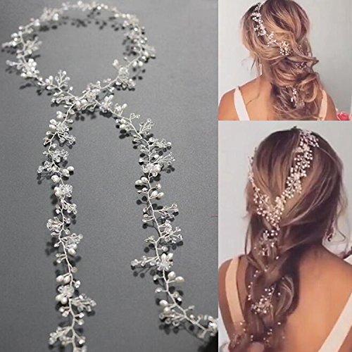 Wedding Vine - Yean Wedding Hair Vine Long Silver Bridal Headband Hair Accessories for Bride and Bridesmaid (100cm / 39.3inches)