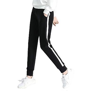 MEYINI Pantalones de chándal de algodón con cordón para Mujer ...