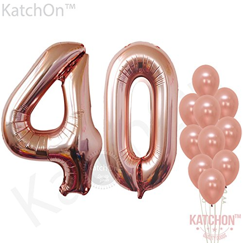 Rose Gold 40 Number Balloons - Large, 4 and 0 Mylar Rose Gold Balloons, 40 Inch | Extra Pack of 10 Latex Baloons, 12 Inch | Great 40th Birthday Party (40th Bday Decorations)