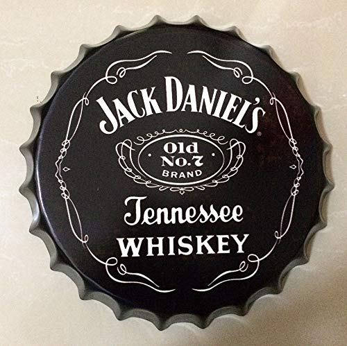 NEWNESS WORLD Whiskey Retro Bottle Cap Metal Tin Signs Beer Cap Decoration Plates Wall Art Plaque Decoration Home Decoration/Bar/Cafe Bar(35cm by 35cm)