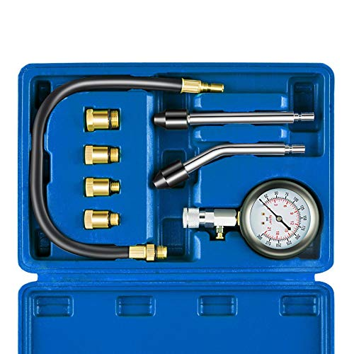 Auto Piston Spark Plug Compression Tester Kit | Automotive Fuel Petrol Gas Engine Motor Cylinder Pressure Gauge for Vehicle Marine Motorcycle ATV UTV Snowmobile ()