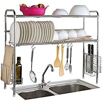 Abaft 304 Stainless Steel Over Sink Drying Rack Dish Drainer Rack&Kitchen  Organizer (double Groove-double-layer)