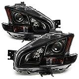 VIPMOTOZ Black Housing Projector OE-Style Headlight Lamp Assembly For 2009-2014 Nissan Maxima Halogen Model, Driver & Passenger Side
