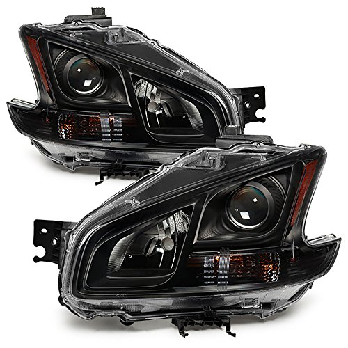 (VIPMOTOZ Black Housing Projector OE-Style Headlight Lamp Assembly For 2009-2014 Nissan Maxima Halogen Model, Driver & Passenger Side)