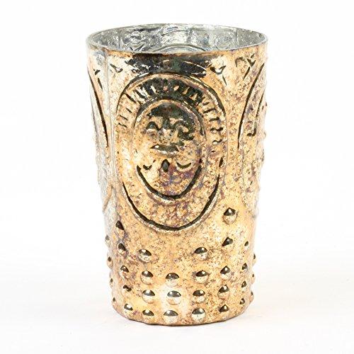 (Koyal Wholesale Burnt Gold Fleur De Lis Vase, Fleur De Lys Bud Vase Home Decor, Vase Centerpiece for Wedding (4.5