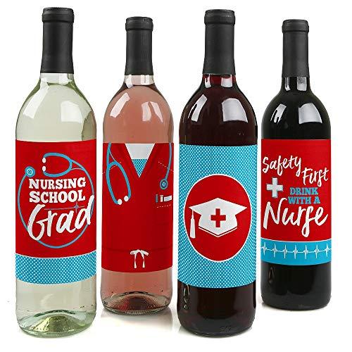 Nurse Graduation - Medical Nursing Graduation Party Decorations for Women and Men - Wine Bottle Label Stickers - Set of 4 -