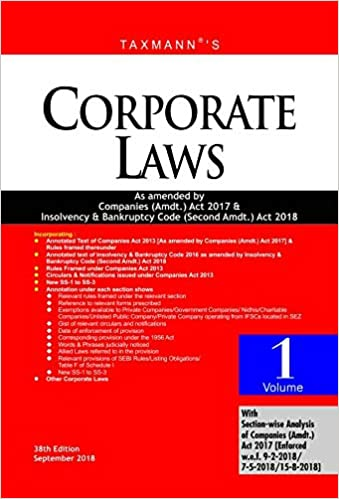 Corporate Laws-As Amended by Companies (Amdt.) Act 2017 & Insolvency & Bankruptcy Code (Second Amdt.) Act 2018 (Paperback Pocket Edition) (Set of 2 Volumes) (38th Edition, September 2018) - byTaxmann