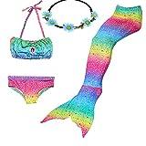 GALLDEALS 4pcs Swimmable Mermaid Tail for Kids Girls Princess Bikini Set Swimsuit Swimwear, 3-12Years