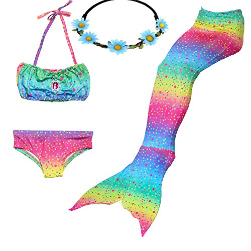 GALLDEALS 3pcs Swimmable Mermaid Tail for Kids Girls Princess Bikini Set Swimsuit Swimwear, 3-12Years (110cm(3-4Y), Colorful Spots) -
