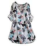 Overmal Womens Full Sleeve Butterfly Print Casual Beach Dresses