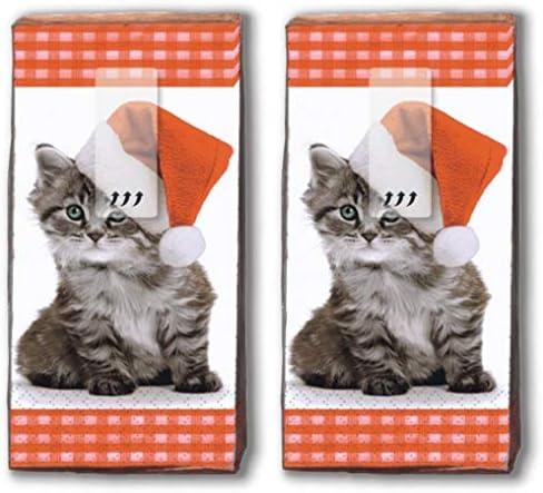 20 Taschentücher (2x 10) Taschentücher Weihnachtskätzchen/Katze / Winter/Weihnachten