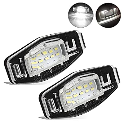 2pcs Car License Plate Light for Honda Civic Pilot Accord Odyssey Acura MDX RL TSX ILX RDX Error Free 3W 18 Led White License Tag Lights Rear Number Plate Lamp Direct Replacement: Automotive