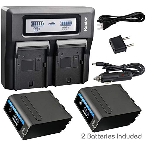 Kastar 2 Pack Battery and LCD Dual Fast Charger for Sony NP-F990 Pro NP-F970 CCD-TRV45 CCD-TRV46 CCD-TRV47 CCD-TRV48 CCD-TRV49 CCD-TRV51 CCD-TRV510 CCD-TRV517 CCD-TRV54 CCD-TRV55 CCD-TRV56 CCD-TRV57