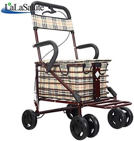 カート・ワゴン 荷台のカーボンスチール赤い老人の歩行器のローラーベビーカーの折り畳み式調節可能なダブルブレーキカート (Color : Red)