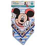 Disney Mickey Mouse 3 Piece Bandana Bibs, Blue Mickey Print
