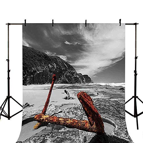 (Shipwreck Stylish Backdrop,Weathered Photo of Aged and Decayed Flaking Anchor on The Beach by The Hills Marine for Photography,98.4