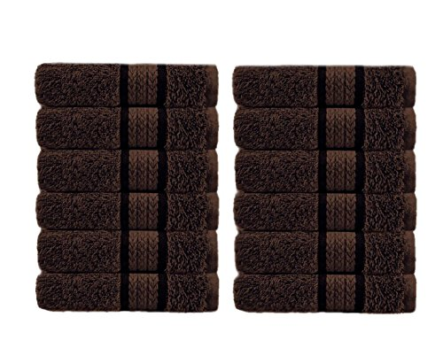 Cotton Craft - 12 Pack - Ultra Soft Extra Large Wash Cloths 12x12 Chocolate - 100% Pure Ringspun Cotton - Luxurious Rayon Trim - Ideal for Daily Use - Each Towel Weighs 2 Ounces
