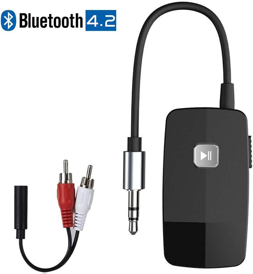 Adaptador de Receptor Bluetooth Golvery (Bluetooth avanzado 4.2, A2DP), Kits de Audio portátiles para Autos con 3.5 mm aux, Transmisión de música de Alta fidelidad para el Sistema estéreo del hogar