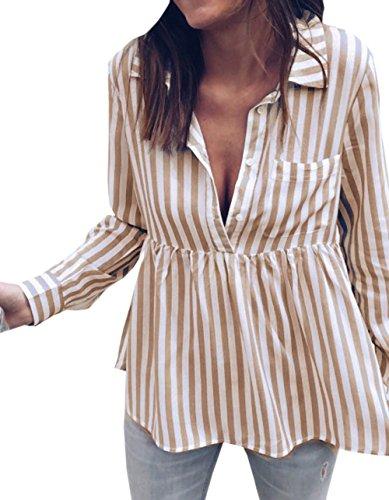 Kaki Manches Raye Automne Fashion Shirts Blouse Legendaryman T Shirt Longues Revers Casual Tops Haut Tee Printemps Femme Chemisiers et YqHUqZ