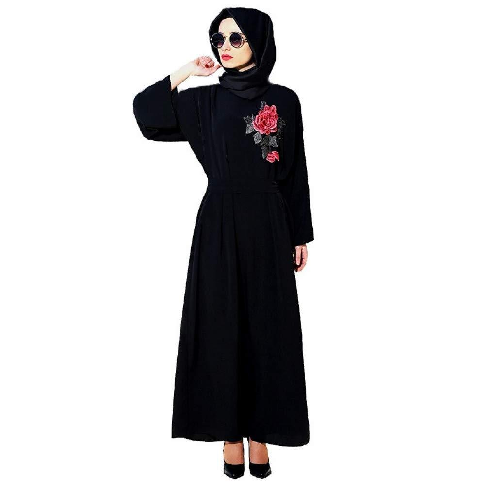 Noir TIKEHAN Ethnique Religieux Robe Arabe Abaya Kaftan Dress Festival De Femmes Halloween Costumes De Fête Robes à Fleurs Noires Style Ethnique Long M
