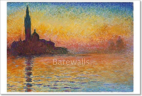 Barewalls San Giorgio Maggiore at Dusk - Sunset in Venice by Claude Monet Paper Print Wall Art (24in. x 36in.)