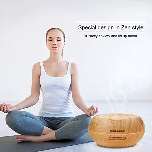 InnoGear Aromatherapy Essential Oil Diffuser Ultrasonic Cool Mist Diffusers with 7 Color LED Lights Waterless Auto Shut off, Wood Grain, 200 mL