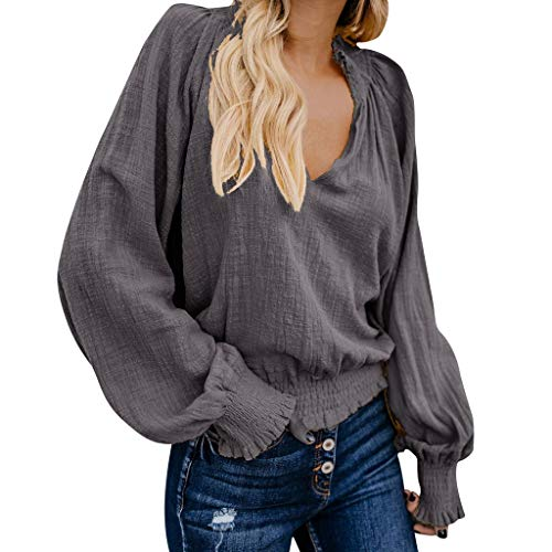 5341362ccdb3 TWGONE V Neck Long Sleeve Women Blouse Daily Cotton Linen Solid Loose  Casual Tops (XX