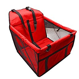 X-Sunshine Portable Foldable Carrier Pet Basket Dog Cat Car Mesh Side Booster Seat With Safety Leash For Vacation Travelling (with mesh, Red)