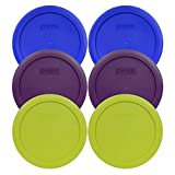 Pyrex 7201-PC Round 4 Cup Storage Container Lids for Glass Bowls (2-Light Blue, 2-Purple, 2-Edamame Green)
