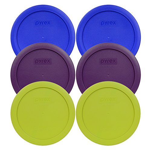 (Pyrex 7201-PC Round 4 Cup Storage Container Lids for Glass Bowls (2-Light Blue, 2-Purple, 2-Edamame Green))