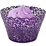 JOYJULY Pack of 60pcs Cupcake Wrappers Vine Hollow-cut Cupcake Papers Muffins Wraps Liners for Wedding Birthday Party Thanks Giving Day Decoration Purple