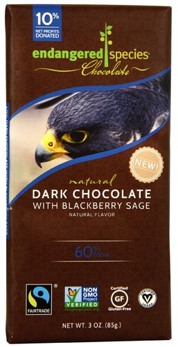 Endangered Species Natural Dark Chocolate Bar with Blackberry Sage, 3 Ounce -- 12 per case.