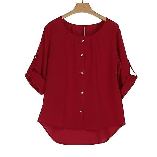 HOSOME Women Top Womens Summer Autumn Women Solid Color Fashion Women Lady Loose Long Sleeve Chiffon Casual Blouse Shirt Tops Blouse : Grocery & Gourmet ...