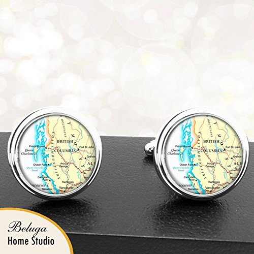 Map Cufflinks British Columbia Area Canada Maps Handmade