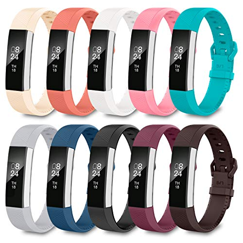 LEEFOX Compatible for Fitbit Alta HR Bands, Accessory Band for Fit Bit Alta HR/Ace and Alta Wristband Watch Buckle Replacement Strap for Original Fitbit Alta 2016/Fitbit Alta HR, 10 Pack Large
