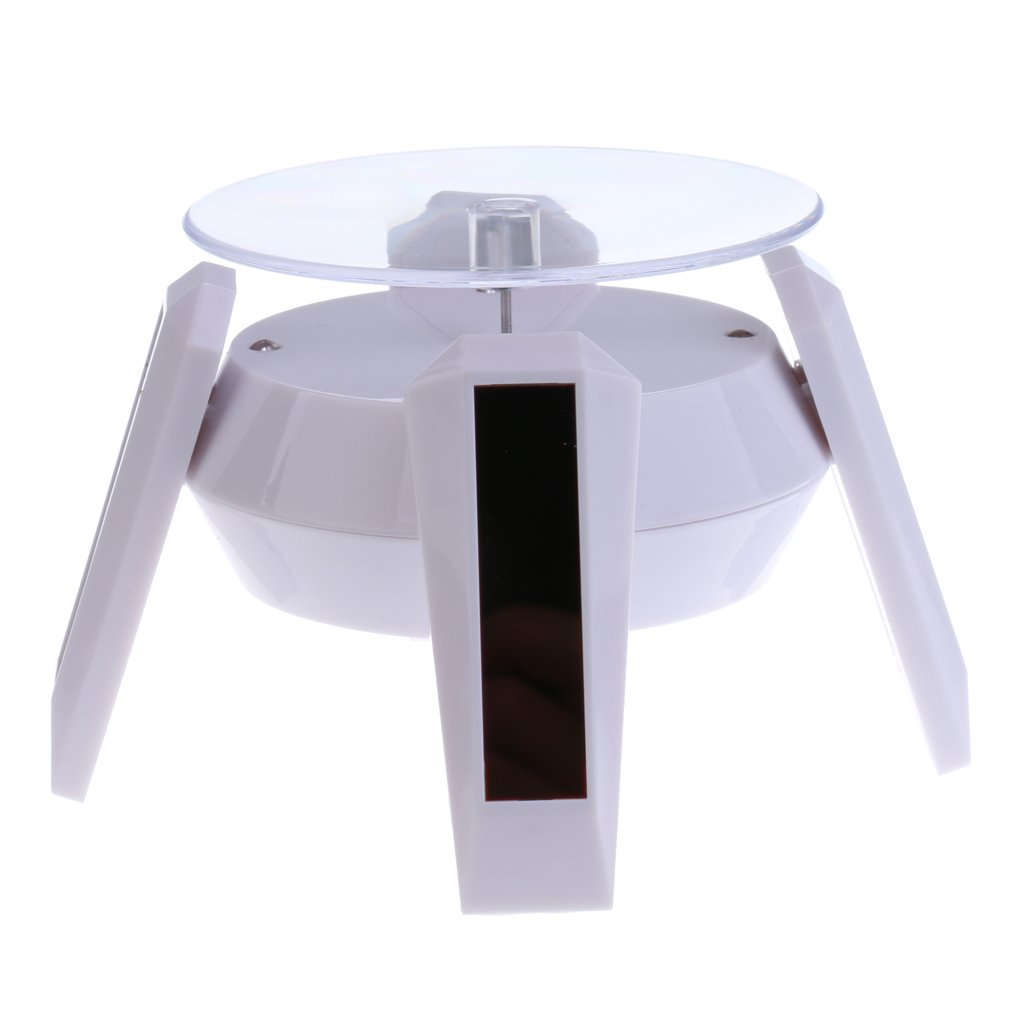 Dovewill White 360 Degree Rotating Jewelry Watch Display Stand - Solar or AAA Battery Powered