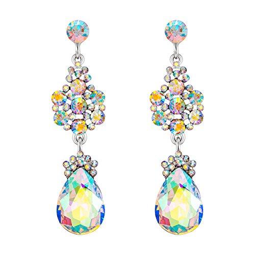 EleQueen Austrian Crystal Elegant Teardrop Dangle Wedding Earrings For Women Clear AB Silver-Tone -